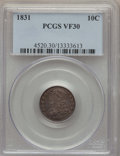 Bust Dimes: , 1831 10C VF30 PCGS. PCGS Population (20/356). NGC Census: (11/278).Mintage: 771,350. Numismedia Wsl. Price for problem fre...
