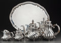 Silver Holloware, Continental:Holloware, A Five-Piece Gayer & Krauss German Silver Tea and CoffeeService, circa 1930. Marks: 835S, (crown), (crescent),HANDAR... (Total: 5 Items)