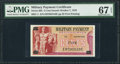 Military Payment Certificates:Series 692, Series 692 5c PMG Superb Gem Uncirculated 67 EPQ.. ...