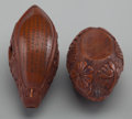Asian:Chinese, A Chinese Finely Carved Nut Boat on Stand, late 19th century. 1-3/4inches long (4.4 cm). Provenance: Ethry Shaw Guellow c... (Total: 2Items)