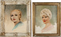 Movie/TV Memorabilia:Original Art, A Mae West-Related Set of Oil Paintings, 1930s.... (Total: 2 Items)