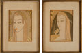 Movie/TV Memorabilia:Original Art, A Mae West Pair of Art Deco Watercolor Paintings, 1935.... (Total:2 Items)