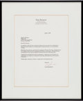 Music Memorabilia:Autographs and Signed Items, Whitney Houston - Typed Letter Signed From Tony Bennett, 1995....