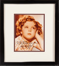 Music Memorabilia:Autographs and Signed Items, Whitney Houston - Shirley Temple Signed and Inscribed Color Photo in Framed Display, 1998. ...