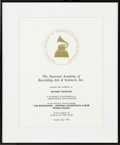 Music Memorabilia:Awards, Whitney Houston NARAS Certificate for The Bodyguard,1993....