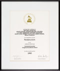 Music Memorabilia:Awards, Whitney Houston Grammy Nomination Certificate For The Bodyguard, 1993....