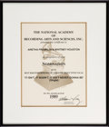 "Music Memorabilia:Awards, Whitney Houston's Grammy Nomination Certificate for the Single ""ItIsn't, It Wasn't. It Ain't Never Gonna Be"", 1989...."