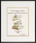 """Music Memorabilia:Awards, Whitney Houston's Grammy Nomination Certificate for the Single """"OneMoment in Time"""", 1988...."""