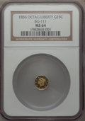 California Fractional Gold , 1856 25C Liberty Octagonal 25 Cents, BG-111, R.3, MS64 NGC. NGCCensus: (16/12). PCGS Population (42/12). ...