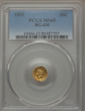California Fractional Gold , 1853 50C Liberty Round 50 Cents, BG-430, R.3, MS65 PCGS. PCGSPopulation (7/1). NGC Census: (2/0). ...