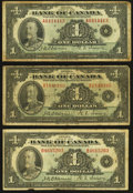 Canadian Currency: , BC-1 $1 1935 Three Examples. ... (Total: 3 notes)