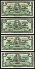 Canadian Currency: , BC-21d $1 1937 Four Examples. ... (Total: 4 notes)