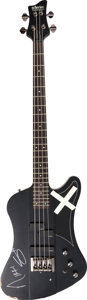 Music Memorabilia:Instruments , Mötley Crüe -- A Nikki Sixx Signed Concert Played Schecter Diamond Series Bass Guitar, 2015....
