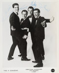Music Memorabilia:Autographs and Signed Items, Four Seasons Signed Promotional Photo (c.1960s)....