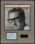 Music Memorabilia:Autographs and Signed Items, Buddy Holly Signature on Album Page in Framed Display with TheBuddy Holly Story Album Cover (Coral CRL 57279)....