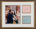 """Movie/TV Memorabilia:Autographs and Signed Items, A Vivien Leigh and Clark Gable Pair of Signatures in a Framed """"GoneWith the Wind"""" Display, Circa 1940s...."""