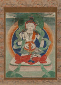 Asian:Other, Tibetan School (20th Century). Seated Buddha. Ink and coloron paper (hanging scroll). 15-1/4 x 11-3/4 inches (38.7 x 29...