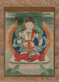 Tibetan School (20th Century) Seated Buddha Ink and color on paper (hanging scroll) 15-1/4 x 11-3