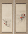 Asian:Japanese, Japanese School (20th Century). Warrior Scrolls (two works).Ink and watercolor on silk. 75 x 23-1/2 inches (190.5 x... (Total:2 Items)