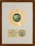 "Music Memorabilia:Awards, Beatles ""Let It Be"" RIAA White Mat Gold Record Sales Award (Apple2765, 1970). ..."