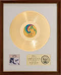 Music Memorabilia:Awards, Elton John Honky Chateau RIAA White Mat Gold Record SalesAward (Uni 93135, 1972)....