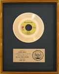 """Music Memorabilia:Awards, Rolling Stones """"Miss You"""" RIAA Gold Record Sales Award (RollingStone RS 19307, 1978). ..."""