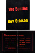 Music Memorabilia:Tickets, Beatles and Roy Orbison UK Tour Concert Ticket Stubs (Three) withTour Book (UK, May-June, 1963)....