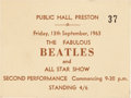 Music Memorabilia:Tickets, Beatles Preston Public Hall Unused Concert Ticket (UK, September13, 1963). ...