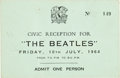 Music Memorabilia:Tickets, Beatles Liverpool Town Hall Civic Reception Ticket (UK, July 10,1964). ...