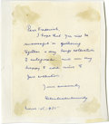 Autographs:Others, Helen Wills Moody Signed Letter. Helen Moody Wills dominatedwomen's tennis in the 1920s and 1930s, winning singles and dou...