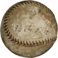 Babe Ruth Signed Baseball. This heavily toned OAL (Barnard) baseball has suffered many abrasions and other cosmetic misg...