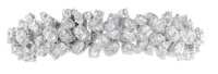Diamond, Platinum Bracelet, Oscar Heyman  The bracelet features pear, marquise and full-cut diamonds weighing a total of...