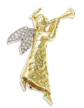 Estate Jewelry:Brooches - Pins, Diamond, Platinum, Gold Brooch. The 18k yellow goldthree-dimensional brooch is designed as an angel with horn; wingsacce...