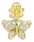 Estate Jewelry:Pendants and Lockets, Diamond, Emerald, Gold Pendant. The flower and butterfly pendant features full-cut diamonds weighing a total of approximat...