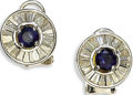 Estate Jewelry:Earrings, Diamond, Sapphire, White Gold Earrings. Each earring centers one round-cut sapphire measuring 4.00 mm, encircled by tapere... (Total: 2 Items)