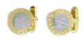 Estate Jewelry:Cufflinks, Gentleman's Gold, Stainless Steel Cufflinks, Bvlgari. Each linkfeatures a stainless steel disc framed in 18k yellow gold,...