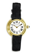 Timepieces:Wristwatch, Cartier, Lady's Gold, Leather Strap Wristwatch, Modern. Case: 26mm, 18k yellow gold, stamped 18k 0750 Swiss No. 670800961...
