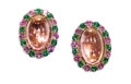 Estate Jewelry:Earrings, Pink Tourmaline, Tsavorite, Pink Sapphire, Gold Earrings, Costagli.Each earring centers one oval-shaped pink tourmaline c...