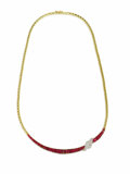 Estate Jewelry:Necklaces, Ruby, Diamond, Gold Necklace, Oscar Heyman. The ribbon motif necklace features baguette-cut rubies, set in 18k yellow gold...