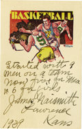 """Basketball Collectibles:Others, 1939 James Naismith Signed """"Basketball"""" Card. Text reads, """"Startedwith 9 men on a team. Now five for men & 6 for girls. ..."""