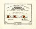 """Basketball Collectibles:Others, 1961 Basketball Hall of Fame Lifetime Membership Certificate Issuedto Naismith's Daughter. Simple 8x10"""" certificate was pre..."""