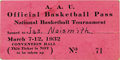 Basketball Collectibles:Others, 1930's A.A.U. National Basketball Championship Program &Ticket. Pair of artifacts from this important basketballtournamen...
