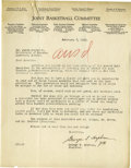 Basketball Collectibles:Others, 1929 James Naismith Handwritten Letter. Single page rendered inNaismith's 10/10 pencil answers an included typed letter fr...