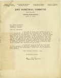 Basketball Collectibles:Others, 1932 Oswald Tower Signed Letter to James Naismith. One of the toughest of all Basketball Hall of Fame autographs is found h...