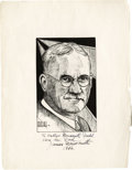 Basketball Collectibles:Others, 1936 James Naismith Signed Artwork to His Daughter. Print of a fineportrait of Dr. Naismith by his friend and fellow profe...