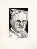 Basketball Collectibles:Others, Circa 1936 James Naismith Signed Artwork. Print of a fine portraitof Dr. Naismith by his friend and fellow professor Ed El...