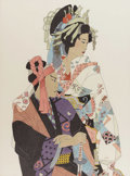 Miscellaneous: , ELAINE. Geisha. Pen and ink on paper. 46.5in. x 38in.. ...