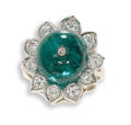 Estate Jewelry:Rings, Emerald, Diamond, Platinum Ring. The ring, designed as a flower,centers an emerald bead measuring 12.30 x 11.00 mm, secur...
