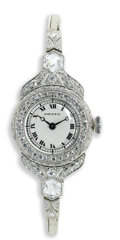 Timepieces:Wristwatch, Shreve & Co., Lady's Diamond, Platinum Integral Bracelet Wristwatch, Circa 1915. Case: 21 mm, platinum, set with two six-s...