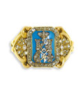 Estate Jewelry:Rings, Gentleman's Diamond, Enamel, Gold Ring, Russian. The Imperial presentation ring features the cypher of Tsarevich Nikolai A...
